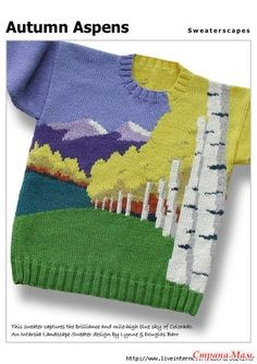 Fashion: Knits Free pdf pattern with graphs for this incredible landscape Knitting For Kids, Free Knitting, Knitting Projects, Baby Knitting, Crochet Baby, Knit Crochet, Single Crochet, Free Crochet, Intarsia Knitting