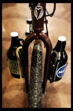 Two growler cages on bike fork. #genius