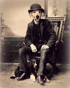 "Dog Art Print, Golden Retriever, Digital Collage, Anthropomorphic, Steampunk, Vintage Photography, Brown, ""George And His Dog Squirrel"""
