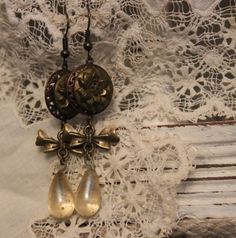 Victorian Brass Floral Button Earrings with by TheGildedGypsies