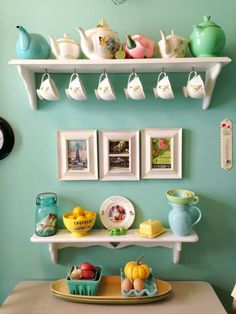 I love this tea nook. I would want open shelves to display lose leaf teas in gorgeous jars!