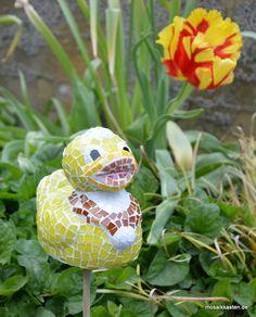 Ente aus Mosaik. Als Stele oder zum Hinstellen