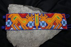 Huichol Peyote Beaded Deer Bracelet by HuicholArte on Etsy