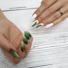 If you're looking to do seasonal nail art, spring is a great time to do so. The springtime is all about color, which means bright colors and pastels are becoming popular again for nail art. These types of colors allow you to create gorgeous nail art. Acrylic Nail Shapes, Acrylic Nails, Stylish Nails, Trendy Nails, Different Nail Shapes, Nagellack Design, New Nail Art, Green Nail Art, Super Nails