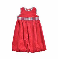 """Vestido para niña """"corduroy"""", en color rojo. Lleva detalles en tela de cuadros azul, verde y rojo, en el cuello, mangas, y en cinta ancha al frente. Ruedo bombacho"""