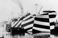 """Episode 65 """"Razzle Dazzle"""" from Invisible -- Becoming invisible with your surroundings is only one type of camouflage. Camofleurs call this high similarity or blending camouflage. But camouflage can also take the opposite approach. Types Of Camouflage, Dazzle Camouflage, New York Art, Razzle Dazzle, Military Art, Military Camouflage, Zebras, Op Art, Historical Photos"""
