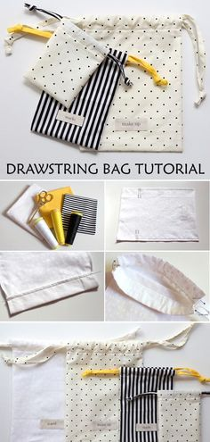 Diy Drawstring Bag Tutorial & Pattern - - This is total beginner stuff but with the right fabrics you can make bags in any colour and to match anything. Small Sewing Projects, Sewing Projects For Beginners, Knitting For Beginners, Sewing Hacks, Sewing Tutorials, Start Knitting, Easy Knitting, Art Tutorials, Tutorial Sewing