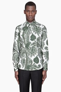 GIVENCHY White and green Paisley Print Slim Shirt