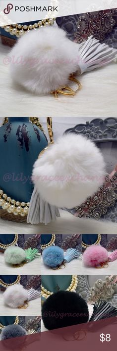 White pom pom keychain with tassel fur ball charm NWOT! Brand new!! Made with Rabbit fur & PU leather Gold hardware.  Size: (approx) Ball Diameter = 8cm  Its a keychain, you can also use it to put as purse charm, key fob or whatever your heart desires.   Great gift for your family, friends or your self.  ** color might be slightly different cause of the lightning  Great for your Louis Vuitton, Prada, Fendi, Chanel, Michael Kors, Gucci, Coach Tory Burch, Kate spade, Marc jacobs and others…