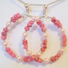 """CLIP ON 2 -1/8"""" PINK  Marble Faux Pearl Hoop Handmade Non-Pierced Earrings Z306 #Handmade #Hoop"""
