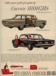 Chevrolet advertisement for the 1961 Corvair Monza. This was quite a remarkable automobile. It featured a rear six-cylinder air-cooled boxer engine. It got about 24 miles-per-gallon. With its 82 horse-power it could reach 60 mph in 21 seconds. Top speed was just over 85. Ralph Nader preyed upon it, and American manufacturers retreated from rear-engine cars.