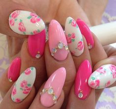 Hot pink , light pink , white floral & rhinestone nails
