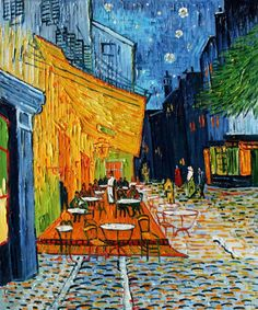 "Van Gogh's masterpiece ""Cafe Terrace"" is the world's most popular (#1) oil painting in 2014 according to overstockArt.com's annual Top 10 List. Hand painted reproductions are available in a variety of sizes at overstockArt.com. #art"