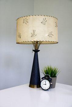 Vintage Mid Century Lamp with Fiberglass Shade Black by FernHillRd, $89.00