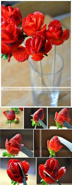 Photo Place: rose strawberries...I would make time to do this once a year..lol. adorable!