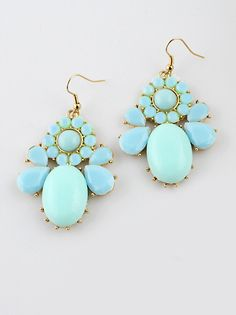 Blue Gemstone Gold Drop Dangle Earrings EUR€4.07
