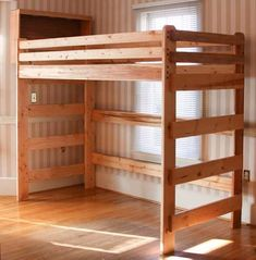 Loft bed built using plans from Bunk Beds Unlimited.   Extra long tall loft bed someone built using our plans. FREE shipping!