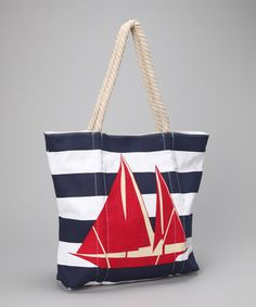 Red Sailboat Tote by Straw Studios