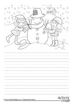 Children can write about their own snowman-building experiences on our fun story paper before colouring in the picture - or practise their creative writing skills by coming up with a story based on what they see in the picture. Creative Writing Worksheets, Creative Activities For Kids, Creative Kids, Teaching Writing, Writing Skills, Teaching Kids, Writing Process, Hindi Worksheets, Worksheets For Kids