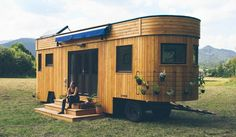 The Wanderlust home from Tumbleweed Tiny House Company. A 170 square foot tiny house on wheels. Best Tiny House, Micro House, Tiny Spaces, Tiny House Living, Tiny House Design, Tiny House On Wheels, Off Grid Tiny House, Green Building, Natural Building