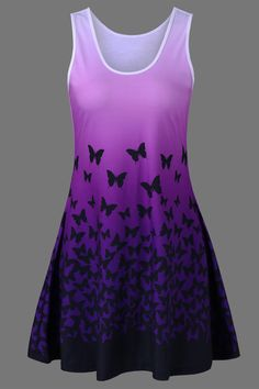 $14.48 Butterfly Print Ombre Tank Dress