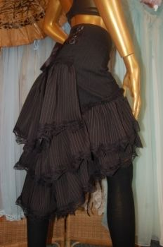pinstripe bustle with black lace
