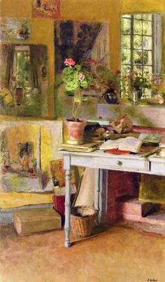 jean-édouard vuillard(1868–1940), at clayes, geranium on a blue table in front of the window, 1932. oil on canvas, 92 x 53.3 cm. private collection http://www.the-athenaeum.org/art/detail.php?ID=98539