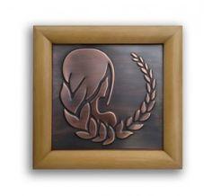 Virgo Zodiac Sign Copper Relief in wooden frame size 26cmx26cm
