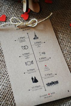 12 Rustic Wedding Day Schedules kraft paper & by adrimdesign