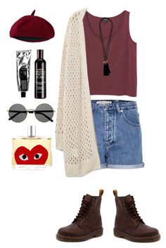 """Red"" by nabilci on Polyvore featuring Monki, Calvin Klein Jeans, Violeta by Mango, Dr. Martens, Comme des Garçons and John Masters Organics"