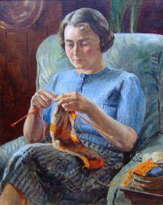 Marjorie Knitting by Leonard Fuller
