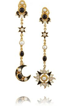 Percossi Papi Sun and Moon gold-plated, onyx and pearl earrings | NET-A-PORTER