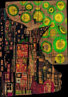 Die Sonnenblumen und die (The Sunflowers and The City), Friedensreich Hundertwasser, 1949 Friedensreich Hundertwasser, Modern Art, Contemporary Art, Art Et Architecture, Painting Collage, Watercolor Painting, Paintings, Inspiration Art, Wow Art