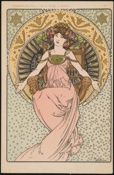 """heaveninawildflower: """" 'Charity' by Alphonse Maria Mucha (1860–1939). Colour lithograph with metallic pigment published by E. Greningaire, Image and text courtesy MFA Boston. """""""