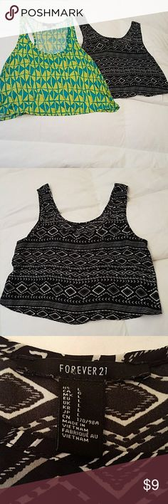Forever 21 bundle two tank tops size large Forever 21 bundle two tank tops size large. Too cute tank tops for the price of one when is blue with lime green the other is white and black geometric Aztec style Prince both size large. 🌴 Forever 21 Tops Tank Tops