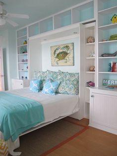 white and blue coastal bedroom, murphy bed / storage / Jane Coslick Cottages