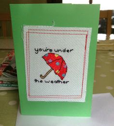 Sew, ray, me: A snail mail revival! Cross Stitch Cards, Get Well Cards, Snail Mail, Greeting Cards, Wraps, Paper Crafts, Crafty, Wrapping Ideas, Sewing