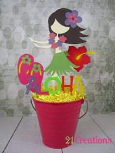 Items similar to Luau Centerpiece on Etsy Luau Theme, Hawaiian Theme, Hawaiian Luau, Luau Party Decorations, Party Props, Luau Party Centerpieces, Party Ideas, Anniversaire Luau, Hawaiian Centerpieces