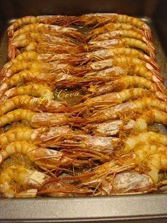 Langostinos al horno Seafood Dishes, Fish And Seafood, Langostino Recipes, Food Decoration, World Recipes, Light Recipes, Other Recipes, Italian Recipes, Italian Foods