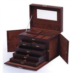 5-Drawer Brown Leather Jewelry Box Organizer Storage Travel Case