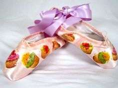 Look good enough to eat! Cupcakes decoupaged on Pointe shoes