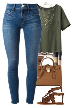 """ootd"" by daisym0nste ❤ liked on Polyvore featuring Uniqlo, NARS Cosmetics, MAC Cosmetics, Michael Kors, American Eagle Outfitters, Frame Denim, Topshop, Devon Pavlovits and Jennifer Zeuner"