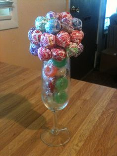 Candy Bouquet Made With Lifesavers and Dum Dum Pops in Wine Glass (6.25 oz) Ready to Ship on Etsy, $18.00