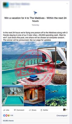 'Win a Vacation to The Maldives' Facebook Scam