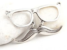 Glass & Moustache Pendant Silver Plated 1 piece by ShiShisBoutique, $7.00