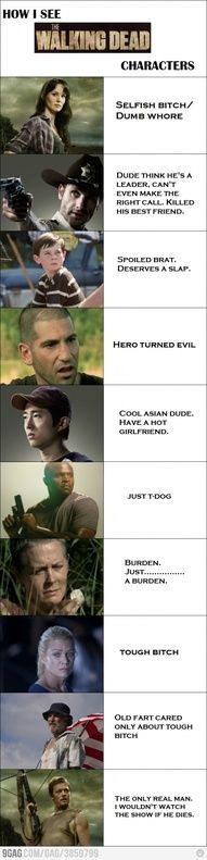 I agree with all of it, except Andrea, I don't care for her. I love Daryl!