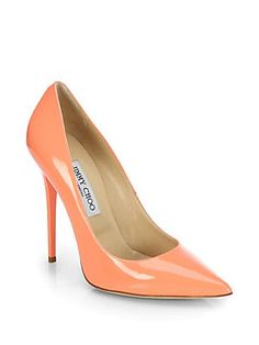 Jimmy Choo Anouk Patent Leather Point-Toe Pumps. I sooo need/want these in GRAPEFRUIT