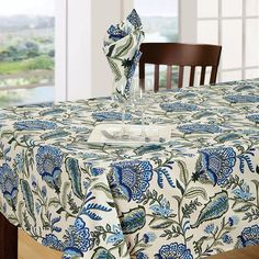 Bring the essence of nature at your dining space with Floral Blue Table Cover that give your table a pleasant look with It's blue and olive green color combination and elaborately print.