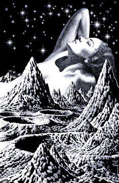Virgil Finlay, Lovely moonscape.