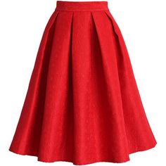 Chicwish Jacquard Rose Pleated Midi Skirt in Red